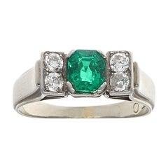 Edwardian Emerald Diamond Gold Ring