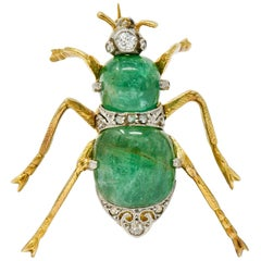 Edwardian Emerald Diamond Platinum-Topped 14 Karat Gold Insect Brooch