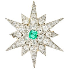 Edwardian Emerald Diamond Platinum-Topped 14 Karat Gold Starburst Pendant Brooch