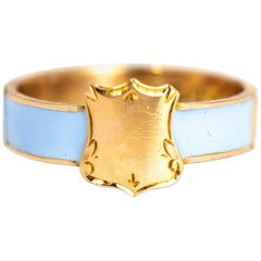 Edwardian Enamel 9 Carat Gold Mourning Ring