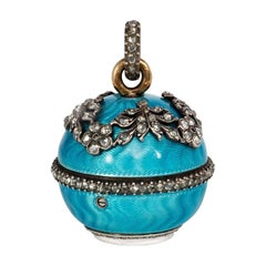 Edwardian Enamel and Rose Diamond Ball Watch Pendant in Silver and Gold