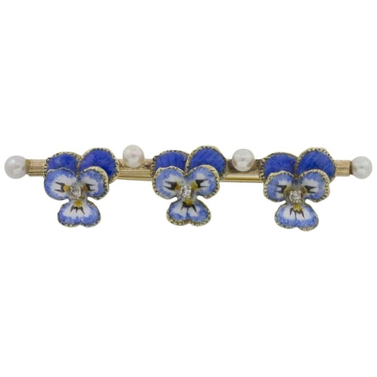 Edwardian Enamel, Pearl and Diamond Bar Brooch