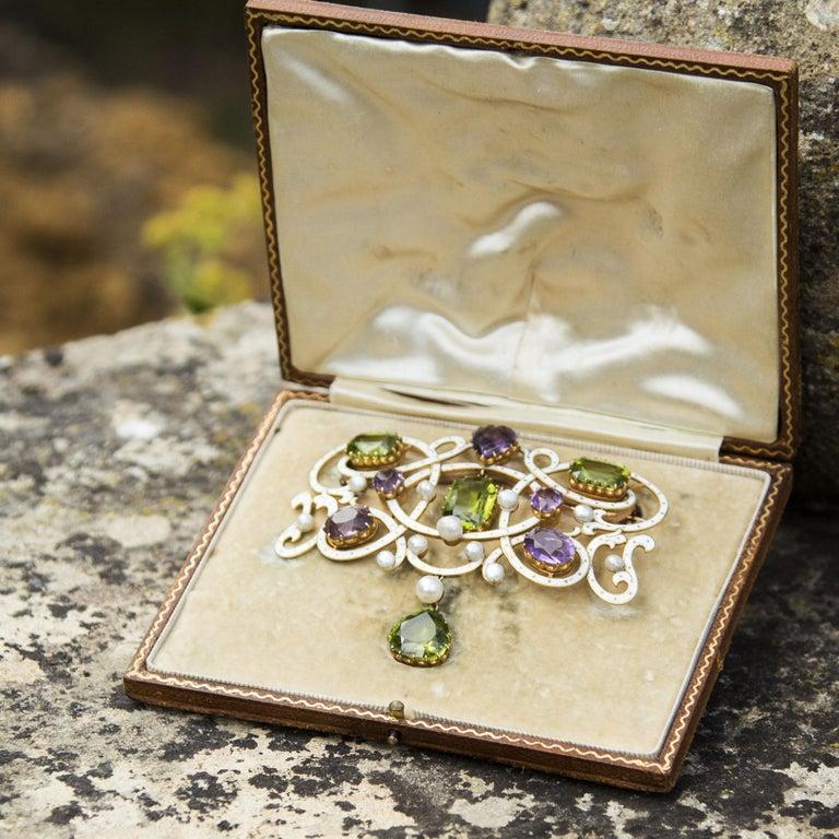 Emerald Cut Edwardian Enamel, Peridot, Pearl and Amethyst 18 Carat Gold Suffragette Brooch For Sale