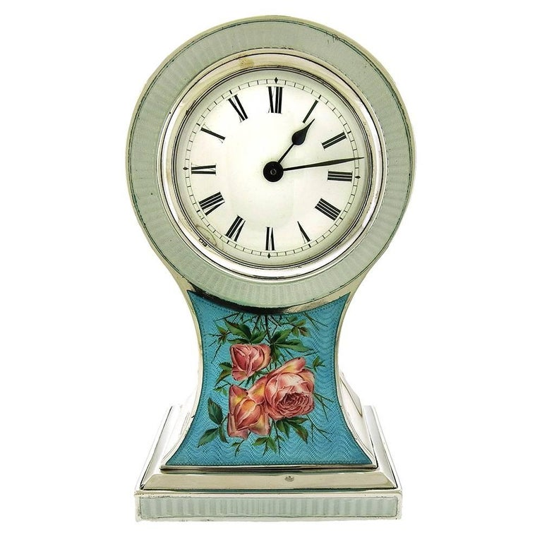 Edwardian Enamel Sterling Boudoir/Mantel Clock
