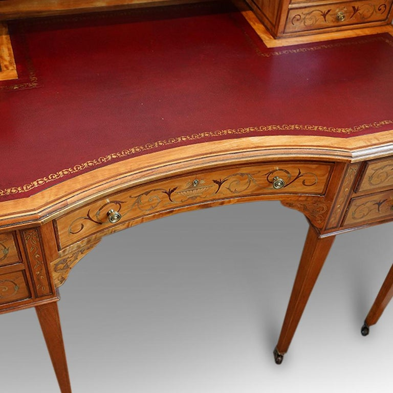 Edwardian English Country House Marquetry Inlaid Satinwood Desk, circa 1900 For Sale 1