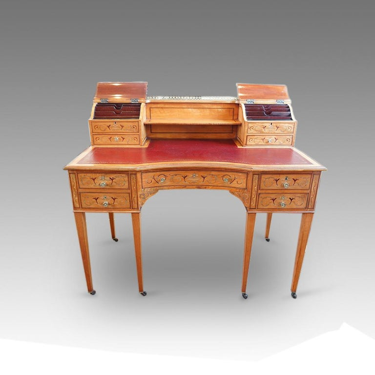 Edwardian English Country House Marquetry Inlaid Satinwood Desk, circa 1900 For Sale 2