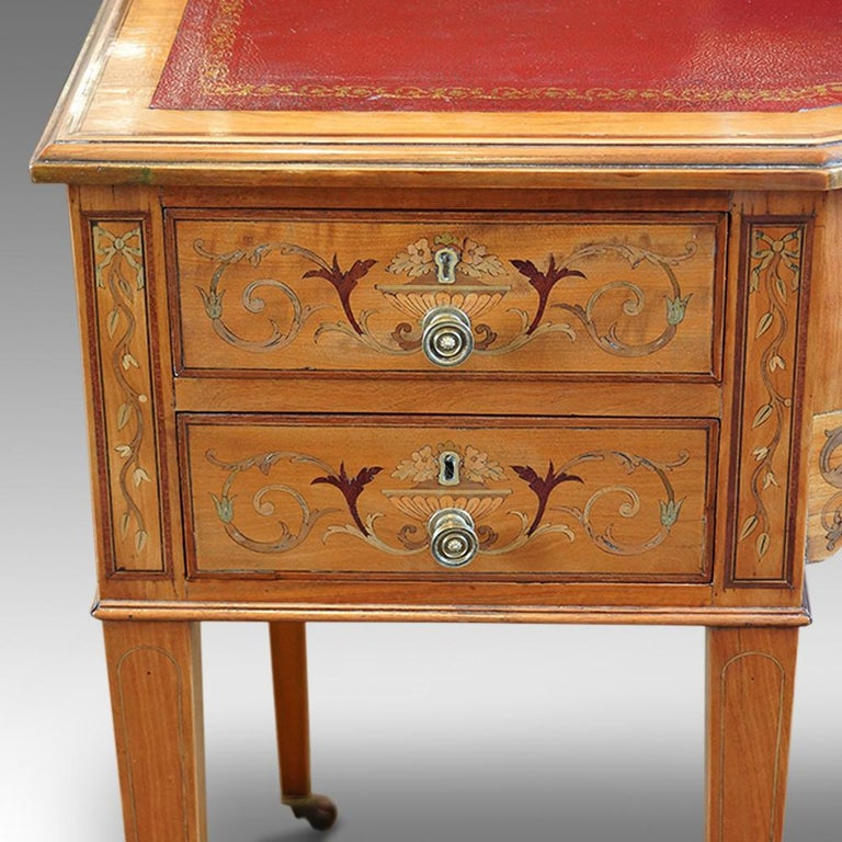 Edwardian English Country House Marquetry Inlaid Satinwood Desk, circa 1900 For Sale 3