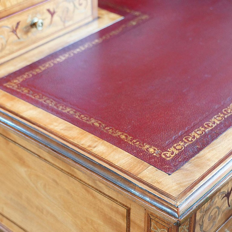 Edwardian English Country House Marquetry Inlaid Satinwood Desk, circa 1900 For Sale 4