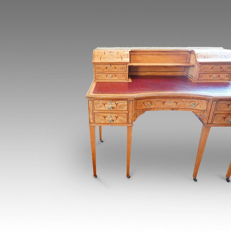 Edwardian English Country House Marquetry Inlaid Satinwood Desk, circa 1900 For Sale 5