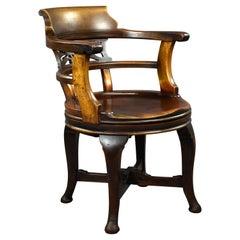 Edwardian English Mahogany Desk Chair