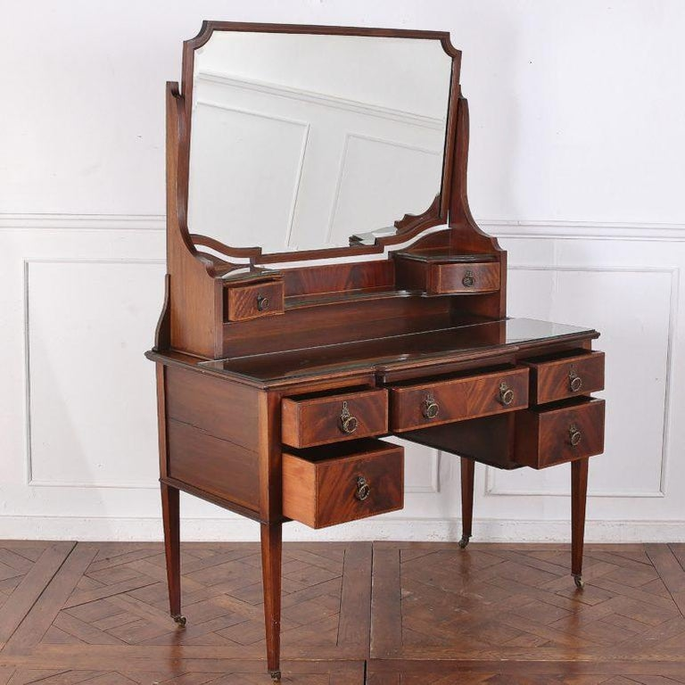 Inlay Edwardian English Mahogany Inlaid Vanity For Sale