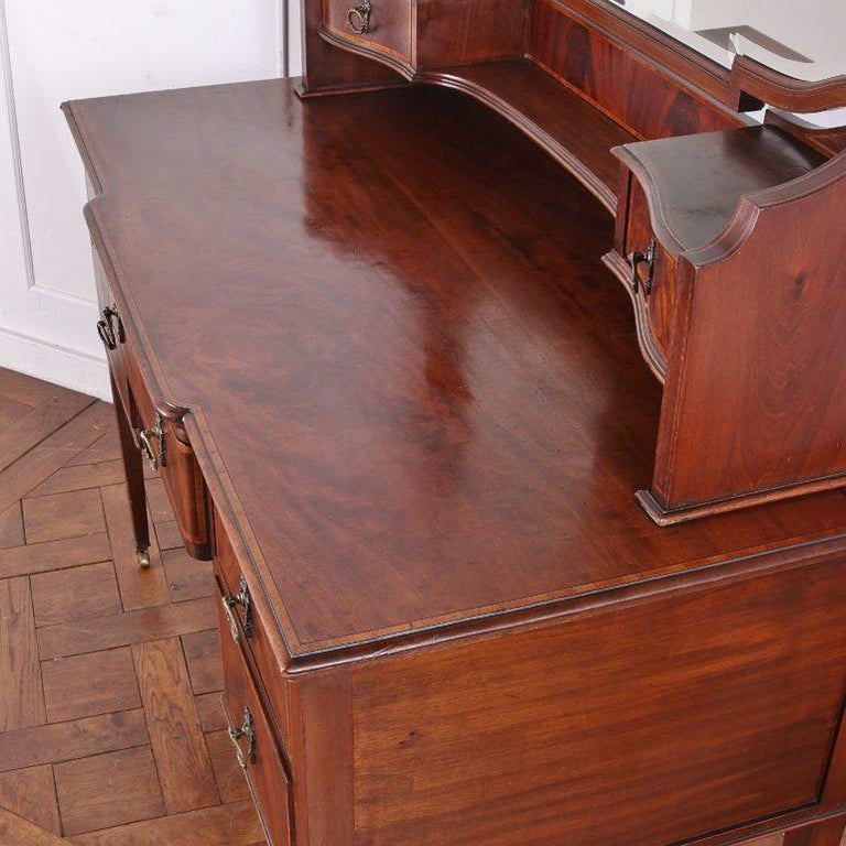 Brass Edwardian English Mahogany Inlaid Vanity For Sale