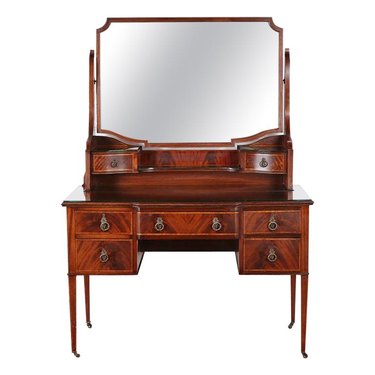 Edwardian English Mahogany Inlaid Vanity For Sale