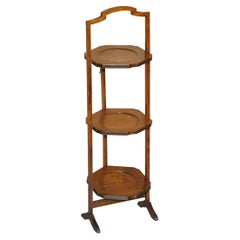 Edwardian English Oak Folding Whatnot Display Table or Cake Stand Lovely Patina
