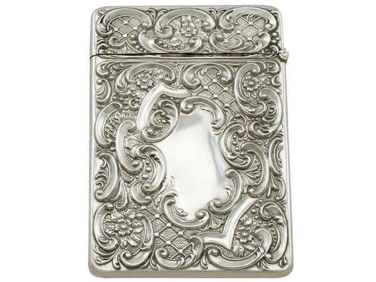An exceptional, fine and impressive antique Edwardian English sterling silver castle top card case depicting Royal Windsor, an addition to our range of collectable silverware.