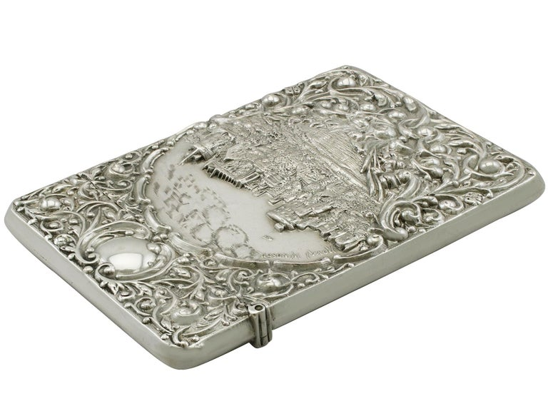 Edwardian English Sterling Silver Castle Top Card Case For Sale 1