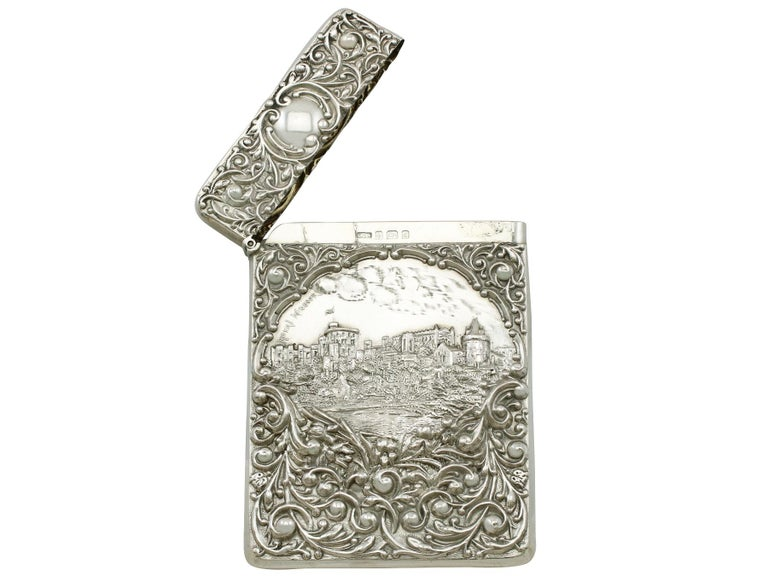 Edwardian English Sterling Silver Castle Top Card Case For Sale 2