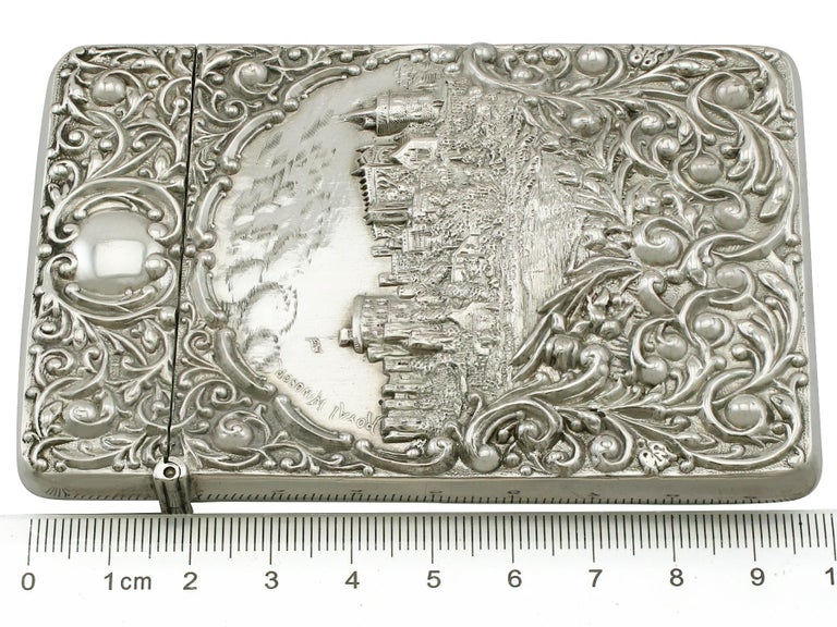 Edwardian English Sterling Silver Castle Top Card Case For Sale 5