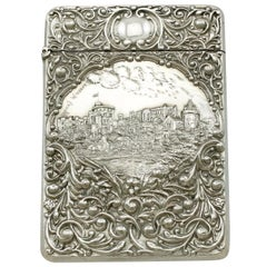 Edwardian English Sterling Silver Castle Top Card Case