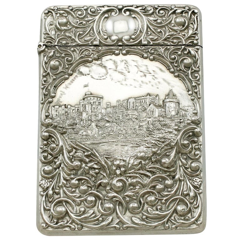 Edwardian English Sterling Silver Castle Top Card Case For Sale