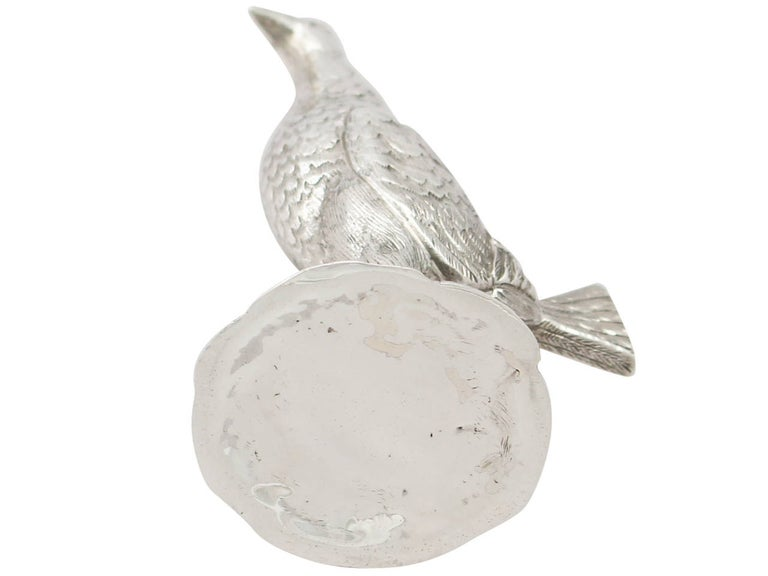 Edwardian English Sterling Silver 'Game Bird' Pepperette For Sale 2