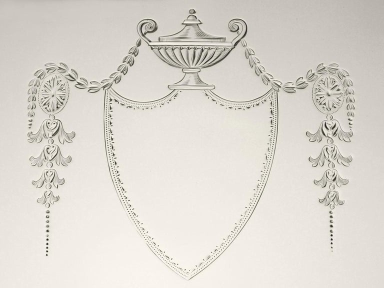 Antique Edwardian English Sterling Silver Salver 1908 For Sale 2