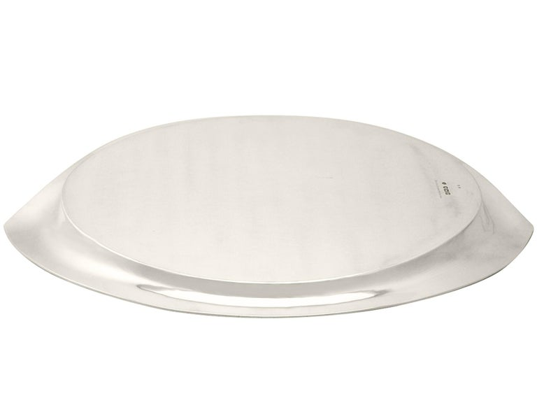 Antique Edwardian English Sterling Silver Salver 1908 For Sale 4