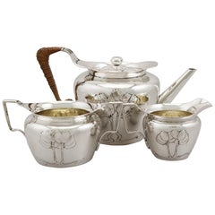 Edwardian English Sterling Silver Three-Piece Tea Service by Hukin & Heath