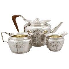 Edwardian English Sterling Silver Three-Piece Tea Service by Hukin & Heath