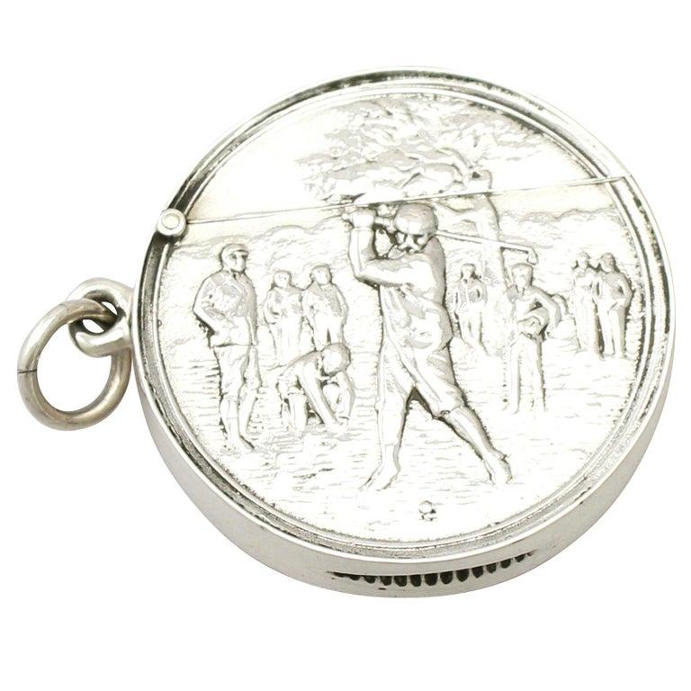 Edwardian English Sterling Silver Vesta Case For Sale
