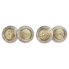 Edwardian Engraved Double Sided 14 Karat Gold Mixed Metal Men's Cufflinks