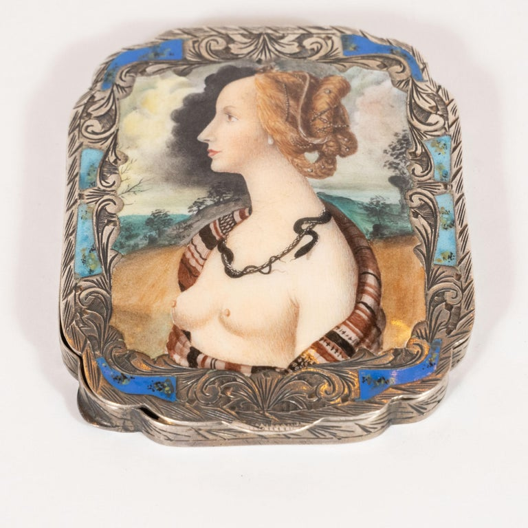 Italian Edwardian Engraved Silver and Hand Painted Enamel Compact Portrait Mirror For Sale