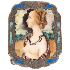Edwardian Engraved Silver and Hand Painted Enamel Compact Portrait Mirror