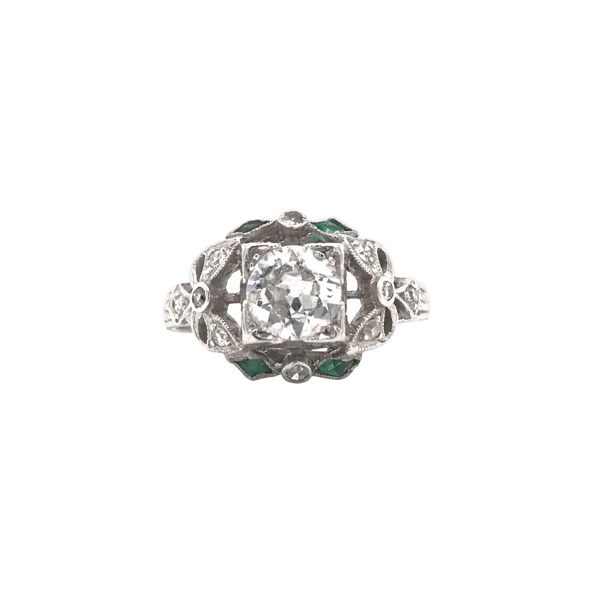 Edwardian Era 0.90 Carat Platinum Diamond & Emerald Ring