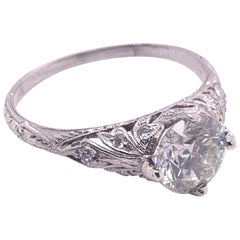 Edwardian Era 1.5 Carat Diamond Solitaire Filigree Engagement Ring