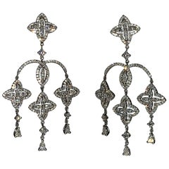 Edwardian Era 2.13 Carat Diamond Dangle Handcrafted Earrings