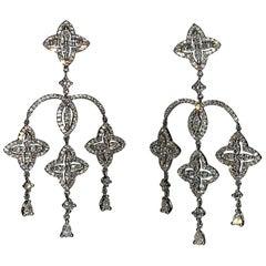 Edwardian Era 2.87 Carat Diamond Dangle Handcrafted Earrings