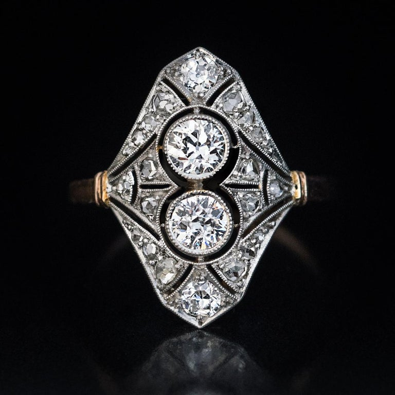 Women's Edwardian Era Antique Diamond Platinum Gold Engagement Ring For Sale