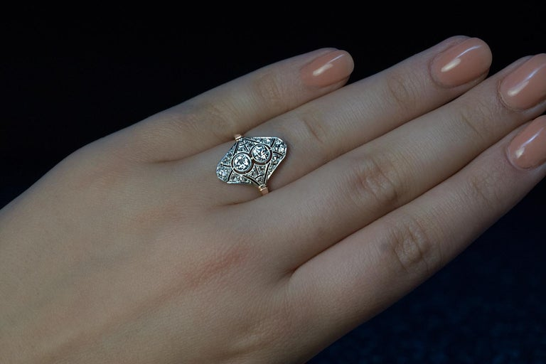 Edwardian Era Antique Diamond Platinum Gold Engagement Ring For Sale 1