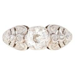 Edwardian Era Diamond Engagement Ring, Platinum Euro Cut 1.01 Carat