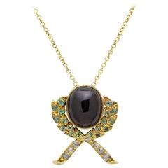 Edwardian Era, Garnet, Emerald and Diamond Necklace