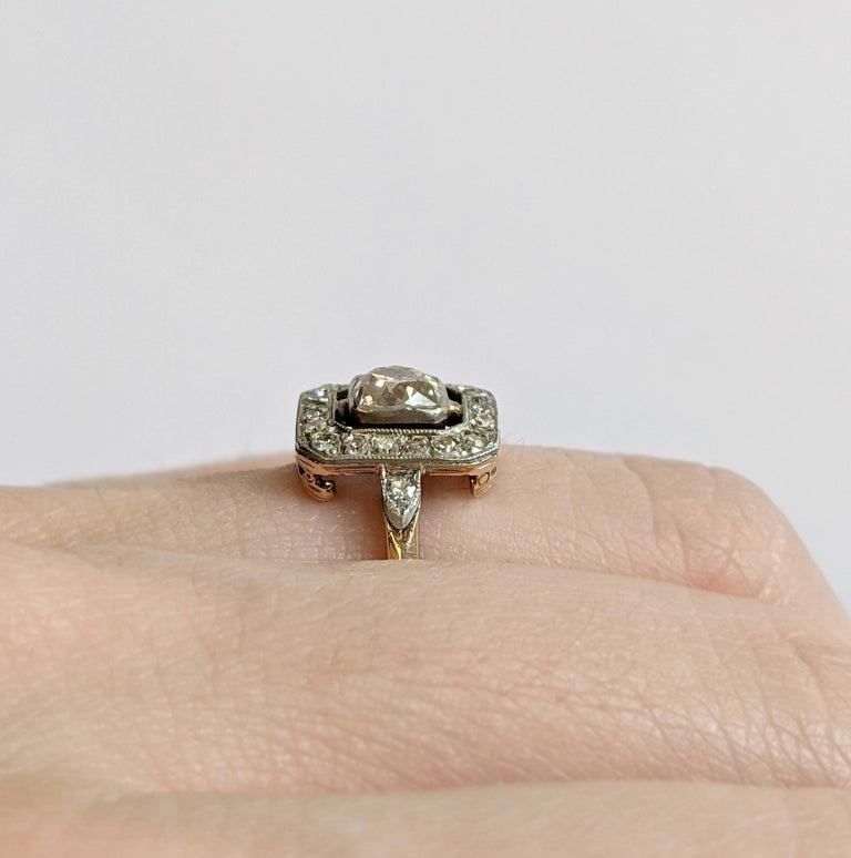 Women's Edwardian Era Old Mine Cut Diamond Engagement Ring For Sale