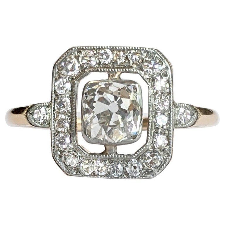 Edwardian Era Old Mine Cut Diamond Engagement Ring For Sale