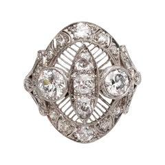 Edwardian Era Platinum 2.01 Carat Diamond Filigree Ring Foliate Engraving