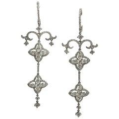 Edwardian Era style 2.45 Carat Diamond Dangle Handcrafted Earrings