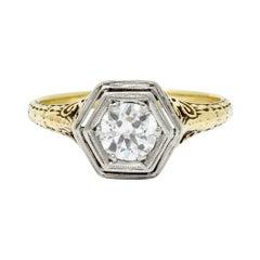 Edwardian European Cut Diamond Platinum 14 Karat Gold Engagement Ring
