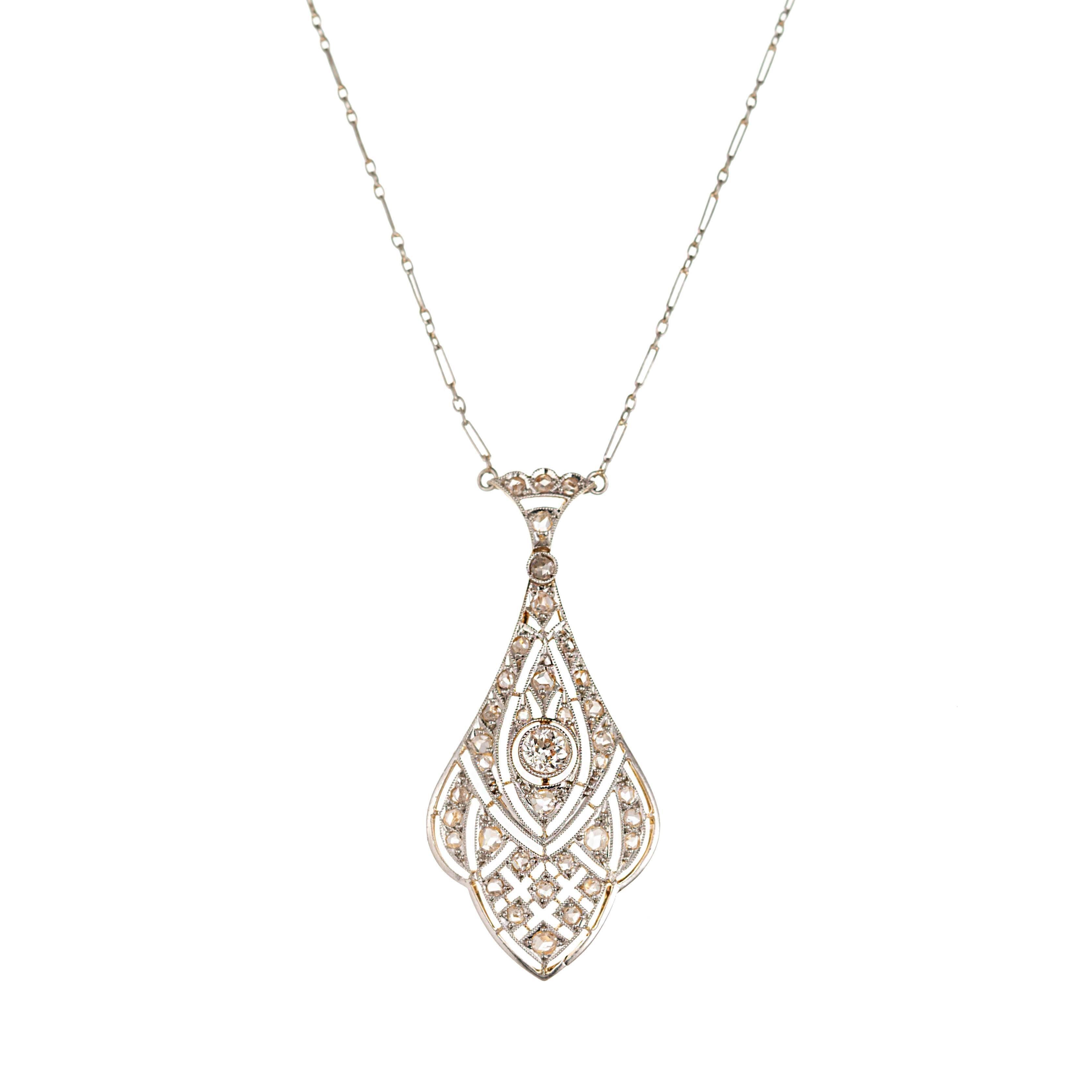 Edwardian European Rose-Cut Diamond Platinum Gold Pendant Necklace