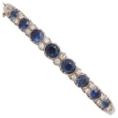 Edwardian Faceted Sapphire and Diamond Bangle