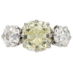 Edwardian Fancy Light Yellow Diamond Three-Stone Ring, circa 1910