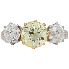 Edwardian Fancy Yellow Diamond Three-Stone Ring, circa 1905